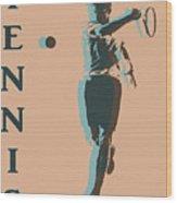 Tennis Player Pop Art Poster Wood Print