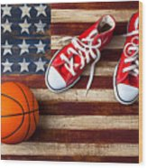 Tennis Shoes And Basketball On Flag Wood Print