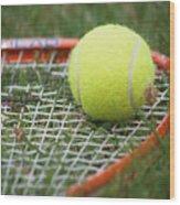 Tennis Wood Print by Valerie Morrison