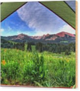 Tent View Wood Print