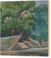 Tents Under Tree Wood Print