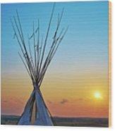 Tepee At Sunset Wood Print