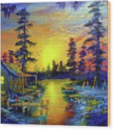 Tequila Sunrise In The Swamp Wood Print