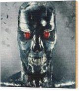 Terminator Oil Pastel Sketch Wood Print