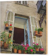 Terra Cotta Pots Outside Window In Old Town Nice, France Wood Print