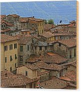 Terra-cotta Roofs Barga Vecchia Italy Wood Print