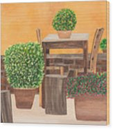Terrace In Tuscany Wood Print