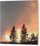 Terrace Mountain Fire 2  Wood Print