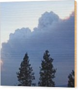 Terrace Mountain Smoke Wood Print