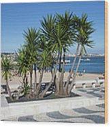 Terrace Promenade At Ribeira Beach In Cascais Wood Print