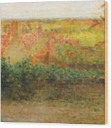 Terrace, Sun, Gerberoy Wood Print