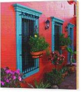 Terrace Windows At Casa De Leyendas By Darian Day Wood Print