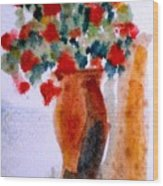 Terracotta Vase And Flowers Wood Print