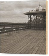 Terrasse Dufferin And St Lawrence River In Quebec Canada Wood Print