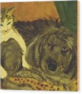 Terrier Mix And Feline Friend Wood Print