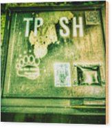 Terror At The Trash Can Wood Print