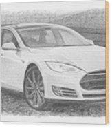 Tesla P58d Electric Car Pencil Drawing Wood Print