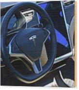 Tesla S85d Cockpit Wood Print