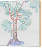 Tesselated Tree Wood Print
