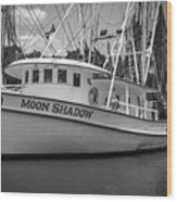 Moon Shadow Working Boat Wood Print