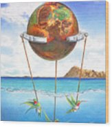 Tethered Sphere Wood Print
