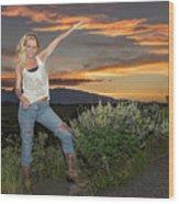 Tetom Sunset 1 Wood Print