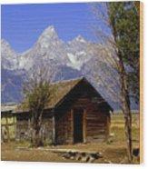 Teton Cabin Wood Print