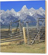 Teton Corral Wood Print