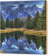 Teton Dawn Reflection Wood Print