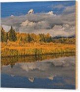 Teton Fall Foliage And Fog Wood Print