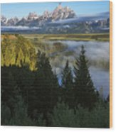 Teton Morning Snake River Overlook Wood Print