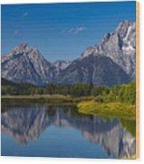 Teton Mountains Reflection Wood Print
