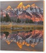 Teton Mountains Sunrise Rainbow Wood Print