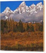 Teton Peaks Above Fall Foliage Wood Print