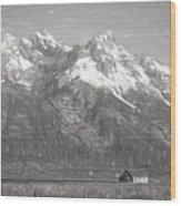 Teton Range Charcoal Sketch Wood Print