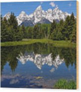 Teton Reflection Wood Print by Alan Lenk