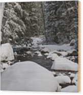 Teton River In Winter Wood Print