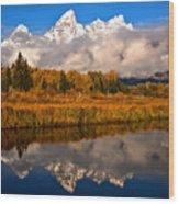 Teton Snow Cap Reflections Wood Print