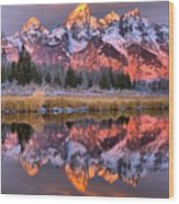 Teton Sunrise Spectacular Wood Print