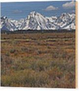 Teton Willow Flats Panorama Wood Print