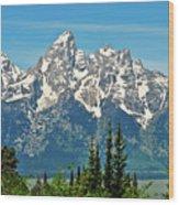 Tetons Across The Valley Wood Print