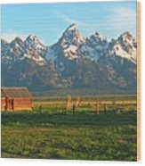 Tetons And Cabin Wood Print
