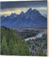 Tetons And Snake River Wood Print