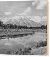 Tetons At Schwabacher Landing Monochrome Wood Print