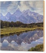 Tetons At The Landing 1 Wood Print