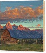 Tetons Barn Wood Print
