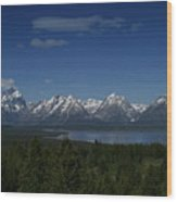 Tetons In Blue Wood Print