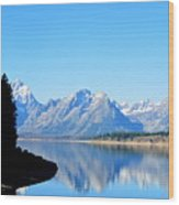 Tetons Reflection Wood Print by Carrie Putz