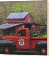 Texaco Truck On A Smoky Mountain Farm In Colorful Textures  Wood Print