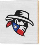 Texas Bandit Cowboy Side Retro Wood Print